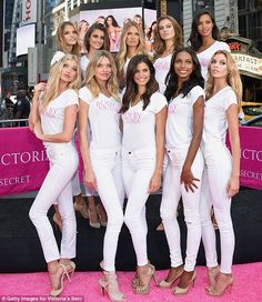 Stunning stars: The ten newest Victoria's Secret Angels appeared in Times Square in New Yo...
