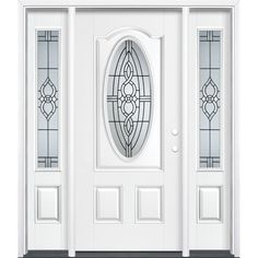 Masonite Calista 3-panel Insulating Core Oval Lite Left-Hand Inswing Artic White Fiberglass Painted Prehung Entry Door (Common: 36-in x 80-in; Actual: 37.5-in x 81.5-in)