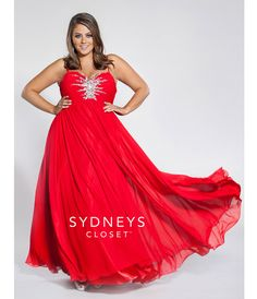 Red  1940s Plus Size Prom Dress -  SC7071 Sydney's Closet - Ruby Red Starburst Spaghetti Strap Plus Size Prom Gown 2015 Prom Dresses