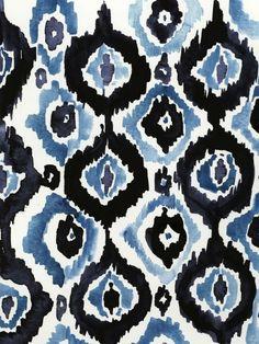 Watercolor ikat pattern by Virginia Johnson Motif Ikat, Ikat Pattern, Pattern Art, Pattern Design, Motifs Textiles, Textile Patterns, Textile Design, Decoupage Vintage, Geometric Patterns