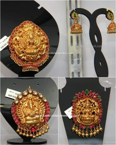 Traditional gold pendant sets, latest temple jewellery gold pendant sets in light weight antique finish 22 Karat gold finishing. Gold Laxmi and Ganesh design pendants Gold Temple Jewellery, Gold Jewellery Design, Bead Jewellery, Jewellery Showroom, India Jewelry, Jewellery Storage, Gold Necklace Simple, Gold Jewelry Simple, Unique Earrings
