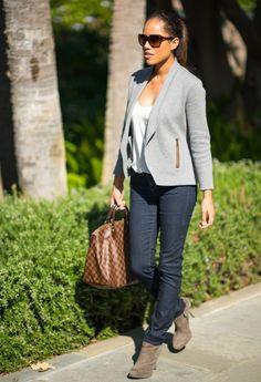 Grey blazer and jeans…