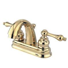 Kingston Brass Restoration 4 in. Centerset 2-Handle Mid-Arc Bathroom Faucet in Polished Brass HKB5612AL at The Home Depot - Mobile