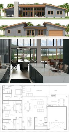 Home Plans House Plans Architecture Homeplans Houseplans Architecture Housedesign Adhouseplans - Besondere Tag Ideen Small Cottage House Plans, Small Cottage Homes, Beach House Plans, New House Plans, Dream House Plans, One Level House Plans, Modern Floor Plans, Modern House Plans, Modern House Design