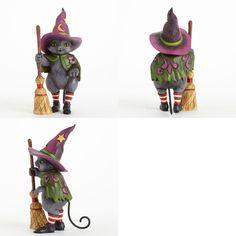 Hocus Pocus Witch Cat with Broom