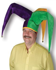 Mardi Gras Plush Floppy Jester Hat Adult