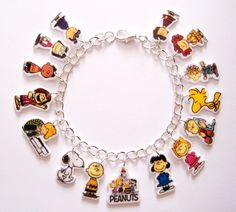 Peanuts Gang Charm Bracelet Charlie Brown Woodstock Snoopy Jewelry Lucy Pig Pen Schroder by Murals4U on Etsy https://www.etsy.com/listing/105592695/peanuts-gang-charm-bracelet-charlie
