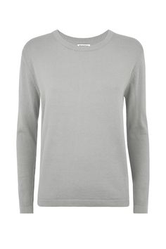 $85 Grey jumper in 100% Fairtrade certified organic cotton. Long sleeve with ribbed hem and cuffs. Length 61cm. Also available in black and pink.