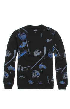 A PacSun.com Online Exclusive! PacSun presents the Rook Sticks And Stones Crew Fleece for men. This comfortable men's crew fleece comes with a black body and a two tone sports print throughout.	Black crew fleece with two tone Rook print	Crew neck	Front hand pockets	Fleece lining	Long sleeves	Machine washable	60% cotton, 40% polyester	Imported