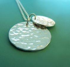 Sterling Silver Necklace - Hand Hammered - Two Charms - by esdesigns