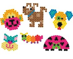 All these fun crazy critter creatures were created on small geometric Perler pegboards.