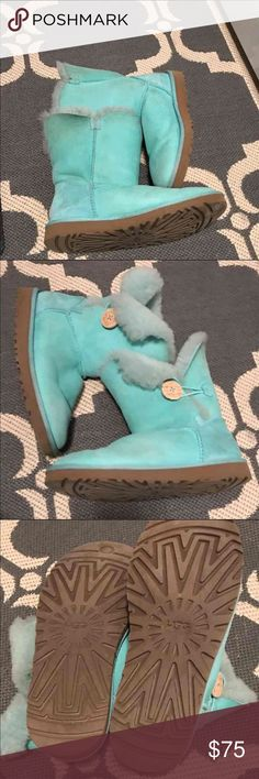 Aqua/Tiffany Blue Uggs Baily Button Uggs in good condition. UGG Shoes Winter & Rain Boots