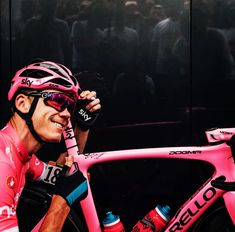 ack to Pink! thanks @chrisfroome thanks @teamsky #endofdiscussion #f10naturalbornwinner #thinkasymmetric #pinarello #pink #giro10