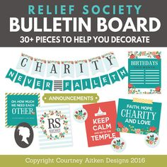 LDS Relief Society Bulletin Board by CourtneyAitkenDesign on Etsy