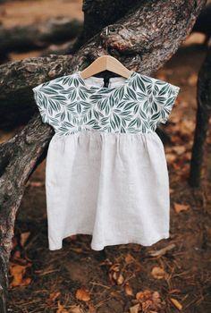 Beautiful Handmade Linen & Leaf Print Baby Toddler Dress | Etsy