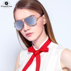 EE New Pilot Style Sunglasses Women Brand Designer Fashion Duble Frame Rose Gold Mirror Sun Glasses For Female UV400 Oculos #Affiliate