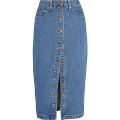 Madewell Denim midi skirt ($145) ❤ liked on Polyvore featuring skirts, mid denim, blue skirt, madewell, calf length skirts, mid calf skirts and knee length denim skirt