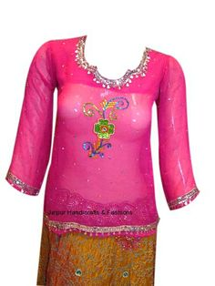 Shop online in India for this marvelous Georgette kurti in deep pink color. This free size kurti comes with a colorful sequins work on the neckline and a colorful sequins flower on the front for a unique party look.