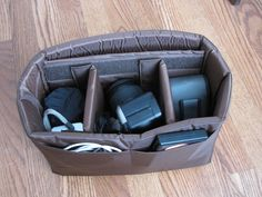 PreOrder DSLR Camera Bag Insert in Brown- Adjustable Dividers - You choose Dimensions. $40.00, via Etsy.--- I need an insert like this... to put into a 31 Bag ... for Medical Equipment on the go---so i dont carry 3-4 bags at one time :)