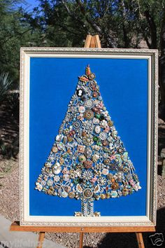 Vintage Jewelry Christmas Tree Framed Art Made With All Recycled Jewelry