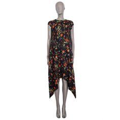 pre-owned authentic Balenciaga Black Floral Midi Dress I Pre-Fall 2016 Ruffle Dress, Knit Dress, Short Sleeve Dresses, Dresses With Sleeves, Floral Midi Dress, Dress With Bow, Street Chic, Fall 2016, Balenciaga