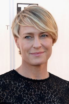 Soften a square face shape with a longer pixie haircut, just like actress, Robin Wright. Keep your lengths long enough to hit the top of your cheekbone to add thickness and volume to an otherwise unforgiving style.  prima.co.uk