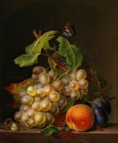 """Natureza Morta com Frutos"" _ Pintura a óleo de Ernst Moritz Gustav (1815)…"
