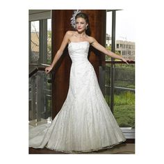 A-line Strapless Lace Satin Wedding Dress