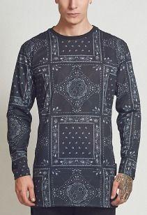 Criminal Damage T-Shirt - Bandana Long Black - BTT5608BLK