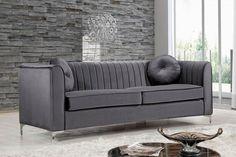Isabelle Grey Velvet Sofa