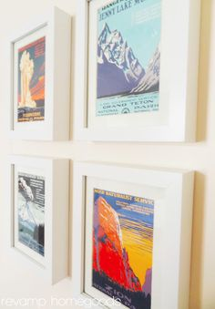 Vintage National Parks Postcards Framed...this would be great for the guest room with my framed maps