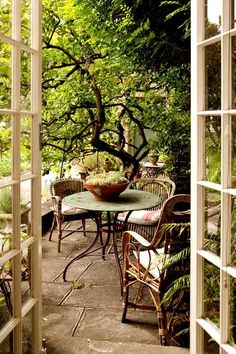 34 Unordinary French Country Patio That Make Your Flat Look Great - Beautifying the garden area in your home is made easy with choosing the right kind of patio furniture. A patio (from the Spanish word meaning 'back ga. Outdoor Retreat, Outdoor Rooms, Outdoor Dining, Outdoor Gardens, Outdoor Decor, Rustic Outdoor Spaces, Small Courtyard Gardens, Backyard Retreat, My French Country Home