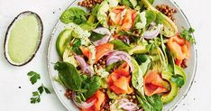 Smoked salmon salad with green goddess dressing Salad Recipes, Diet Recipes, Healthy Recipes, Healthy Meals, Healthy Food, Recipies, 800 Calorie Meal Plan, Smoked Salmon Salad, Vegetarian Nachos