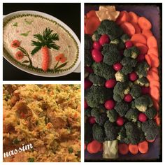 Salad dishes: salad Olivier with some food art decoration on top and a vegetable platter in the shape of Christmas tree