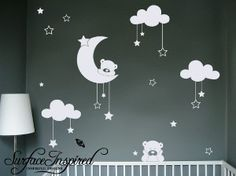 Cudly Bear Wall Decals With Stars and Clouds -...
