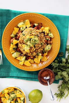 Spicy Chicken and Plantain Rice with Mango-Avocado Salsa (Recipe Challenge Winner!)
