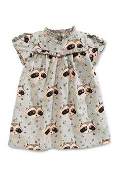 Grey Raccoon Print Dress (3mths-6yrs)