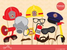 Printable Fireman Birthday Party Fireman/ Firefighter Photo Booth Props from Paper Built. $6.00, via Etsy.