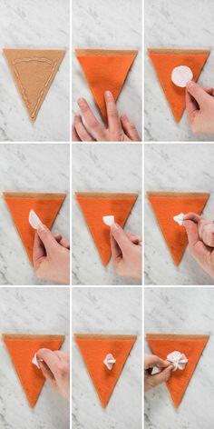 DIY Thanksgiving Pumpkin Pie Felt Garland Banner with a step by step tutorial! Felt Crafts, Decor Crafts, Fabric Crafts, Crafts To Make, Thanksgiving Crafts, Thanksgiving Decorations, Holiday Crafts, Felt Garland, Diy Garland
