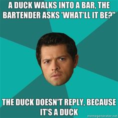 Because it's a duck... #Supernatural #Castiel (Laughed way too hard at imagining him saying this.)