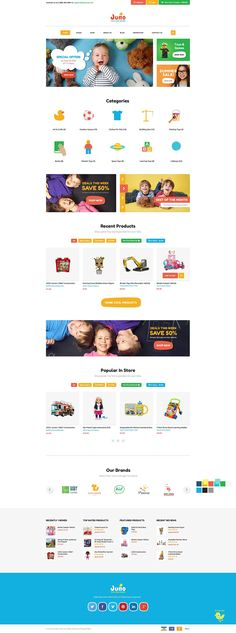 Juno is a cute and colorful e-commerce design that perfectly suits for an online store of kids toys and games, kids fashion, baby clothing and accessories.
