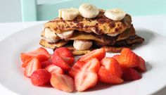 Slimming world syn free salted caramel pancake stack with strawberries and bananas