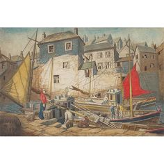 "'NEWLYN HARBOUR' (c.1940) | Edward Bouverie Hoyton (British, b. 1900): Colour etching, 11.75"" x 17.5"", pencil signed, titled and numbered, edition of 75, framed     ✫ღ⊰n"