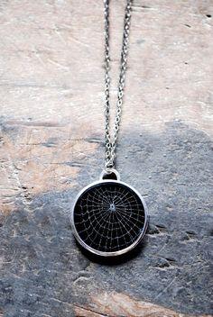 Dollybird Preserved Spider Web Necklace Medium 1 1/2 inches