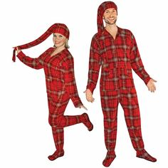 b3e89bed10 Red Plaid Fleece Adult Footed Pajamas with Drop Seat and Long Night Cap
