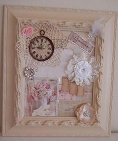 Wall Hanging, handmade Wall Art Shabby chic Wall Art....Where do I begin..... A vintage large 3 dimensional Gesso Frame, glass backed, sanded, primed, painted in a warm latté color. The first layer is a French Script paper in shabby chic colors. I then layered a hand crocheted doily in ivory in the left corner, topped with a lovely timekeeper and a pink rose tucked in the corner.  Opposite I positioned a Crystal Flower with Feathers and Rhinestone  bling on a wire. Beneath it is a ...