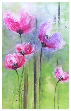 Painting flowers ,Tutorial..Blumen malen, Struktur mit Facettenlack