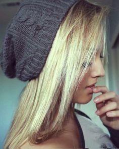 blonde with beanie