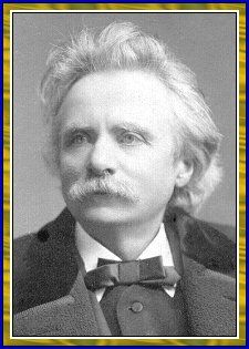 """Edvard Grieg: Norway's Greatest Composer (1843-1907). He painted with notes. He painted the people, the scenery, and the moods of Norway. In the immortal Peer Gynt Suites, Grieg captured the rising of the sun, the lamenting of a death, and, in """"The Hall of the Mountain King,"""" the imagery of a chase scene."""