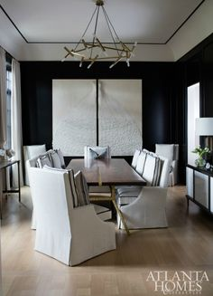 Dr idea: navy grasscloth walls, warm wood table with ecru fabric covered chairs